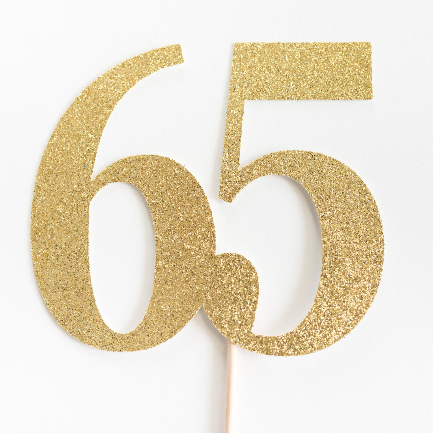 65 Cake Topper 65th Birthday Anniversary Sixty Fifth Gold