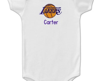 Personalized Los Angeles Lakers Baby Bodysuit