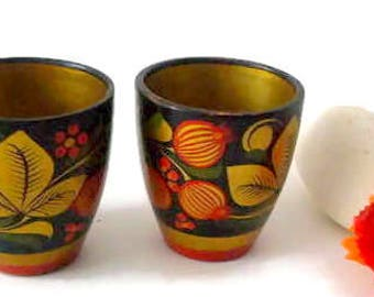 Wooden cups /Hand painted wooden cups / Set of 2 cups /Russian folk art cups -/Small wooden cups /Russia Khokhloma wooden cups