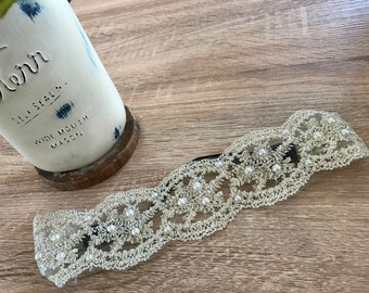 Vintage Ivory Lace with Pearls Headband