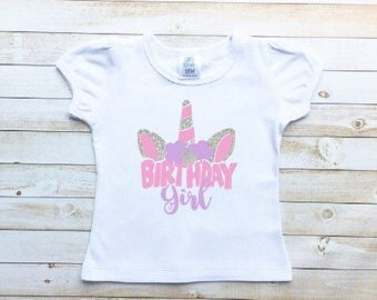 Unicorn birthday shirt, birthday girl, toddler girl, unicorn themed party