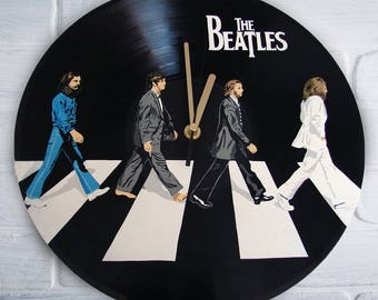 The Beatles painted vinyl record clock. Abbey Road. Gift for music lover