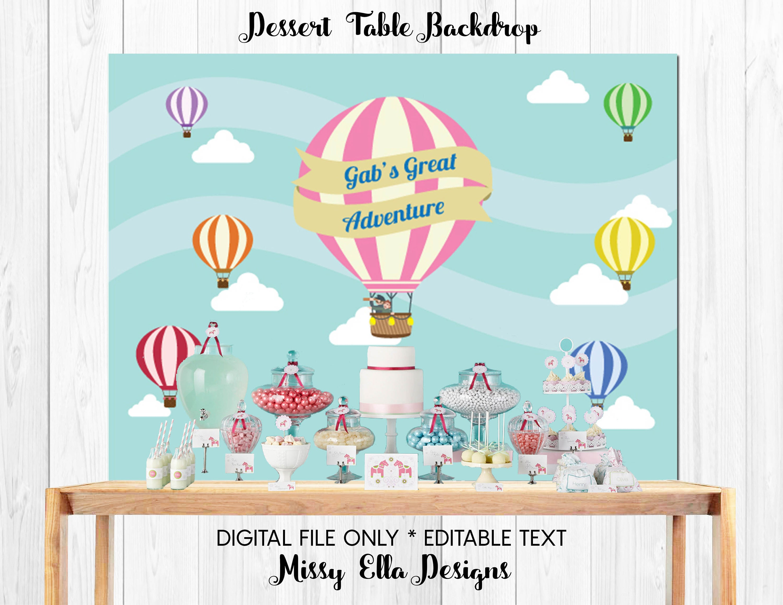 Pink Hot Air Balloon Dessert Table Backdrop // Travel &