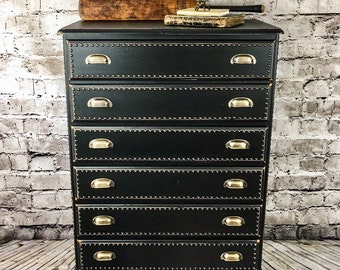 Industrial Tallboy, Upcycled Chest of Drawers, Painted Chest of Drawers, Studded Chest of Drawers, Black Chest of Drawers, Loft style,