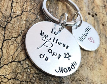 Hand Stamped 'La Meilleure Papy du Monde', Personalised Message French Keyring