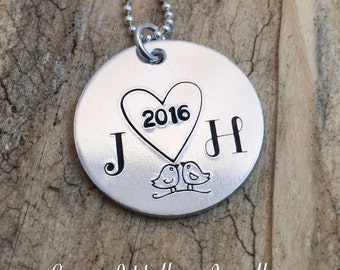 Personalised Initial Love Necklace, Gift for Wife Girlfriend Partner, Hand Stamped Initial Jewelry