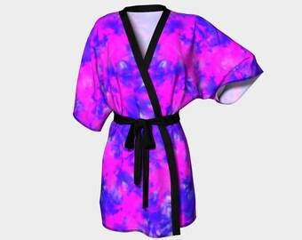 Kimono Robe in purple, pinks and blue - chiffon robe - luxury robes, bridal robe, bathrobe, kimono, robe, dressing gown