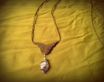 SALE small macrame necklace with Amethyst necklace