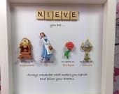 Disney Beauty and the Beast Frame- perfect mum, sister- daughter-friend- nana- flower girl gift. Beauty and the beast gift - caring words