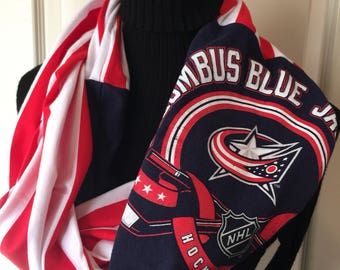 Columbus Blue Jackets - Infinity Upcycled T shirt Scarf - Double Loop - NHL
