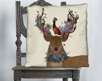 Stag Pillow Cover - Deer Pillow Scottish decor - purple pink Heather Woodland theme whimsical décor rustic lodge décor country home décor