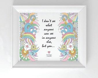 Song Lyrics Personalised Framed Pop Artwork, Valentines Day Gift, Wedding/Engagement/Anniversary Gift
