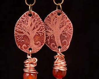 Rustic, Etched copper, tree of life, wire wrapped, carnelian earrings