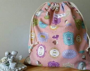 Medium drawstring bag - ballerina print