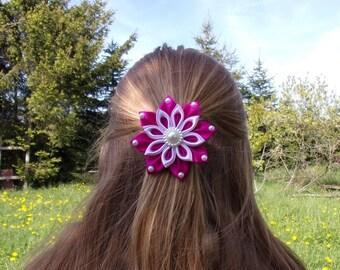 Purple alligator Barrette and hair/hair clip/Fleur kanzashi white/clip / Ribbon satin
