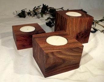 Burr elm large tealight holders - set of 3
