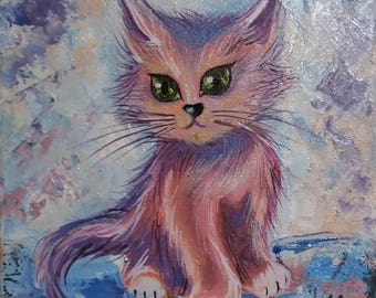 Miniature Oil Painting Kitten Funny animals Gift 18*18 cm fine art