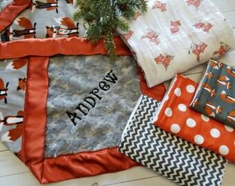 Fox Baby Blanket, Personalized Baby Blanket, Baby Blanket Gift Set, Fox Baby Shower Gift, Baby Boy Gift Set, Baby Boy Shower Gift