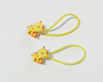 triceratops dinosaur hair ties ponytail elastics *set of 2*