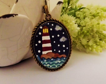 Between the Lights.Lovely Vintage Handmade Hand Painted  Cameo Necklace Polymer Clay Jewelry Pendant Nickel Free Metal