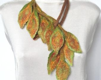 Felt scarf,Felt leaves lariat,Felt belt,Felt scarf with leaves,Wearable art,Felted leaf ,Scarf for fall ,Original Belt,Felted scarflette