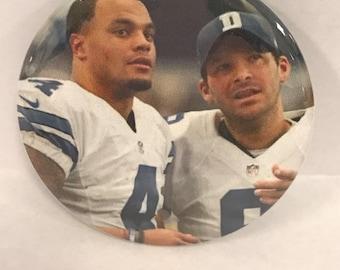 "DALLAS COWBOYS*  Dak Prescott  # 4 and Tony Romo # 9 -  2.25"" Button -  Magnet - or Mirror - NFL Cowboy Souvenir - N.F.C. East Champions"