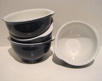 Over And Back Yellow Ware Bowls Blue White glaze Set of 4 Stamped & Embossed ~ Portugal