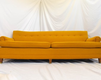 SOLDDONOTBUYSOLDDONOTBUYRare Mid Century Sofa Couch In The Style of Skippers Mobler Yellow Wool Tweed