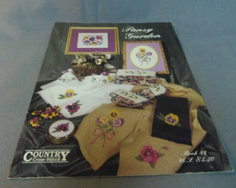 Counted Cross Stitch Patterns, Pansy Garden, Country Cross Stitch Book 88, 1994