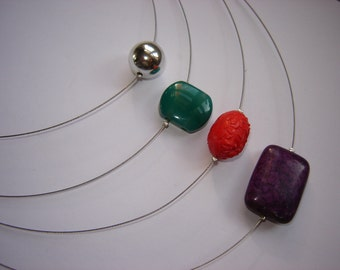 4-row necklace - turquoise - agate - paint bead - silver bullet