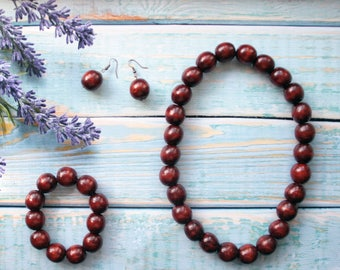 Brown Chunky boho necklace and bracelet fashion brown Wood Beaded Necklace natural wooden jewelry set all natural gift