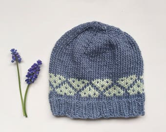 Blue Knit Baby Hat with Hearts, Baby Hat, Baby Girl Hat, Baby Boy Hat, Classic Baby Beanie, Fairisle Hat