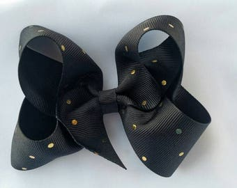 """Black and Gold 5"""" Hairbow - Big Hair bows- Boutique Hairbows -Large Hair Bows - Girls Hair Bows - Toddler Hairbows -"""