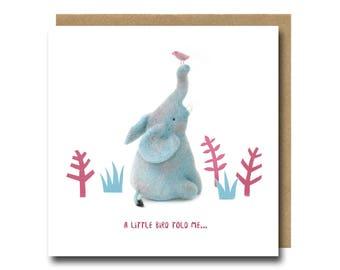 Elephant Congratulations Card, Elephant Birthday Card, Birthday Elephant Card, Cute Elephant Card, Elephant Greeting Card, Felted Elephant
