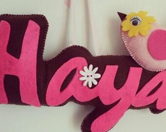 Felt name cushion,name plate,personalised name hanging,custom felt name,child room decor,Baby bday gift
