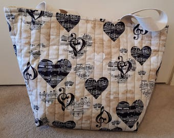 I Love Music Themed Quilted Hold All Tote Bag