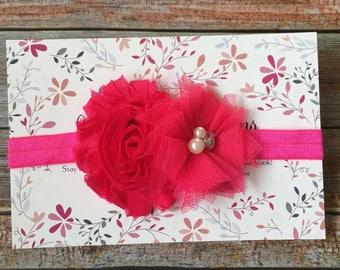 Hot Pink Headband, Baby Headband, Newborn Headband, Flower Headband, Toddler Headband, Pink Headband, Infant Headband, Baby Girl Headband=