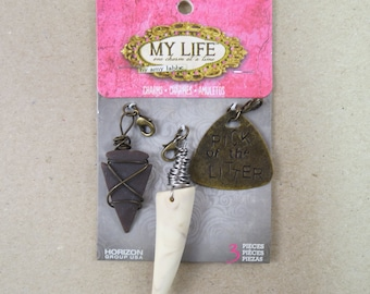 My Life by Amy Labbe 3 Piece Jewelry Making Charms for Necklace or Bracelet - Arrowhead, Tiger Tooth, Pick