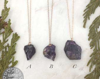 """Natural Violet Purple Raw Amethyst Pendant and Rose Gold Drop 18"""" Necklace - Unfinished Nugget/Chunk - February Birthstone, Aquarius, Pisces"""