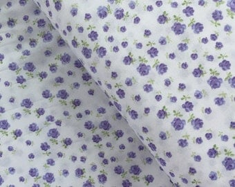 Purple Tiny Roses Cotton Fabric from the Fidelia Collection by Clothworks