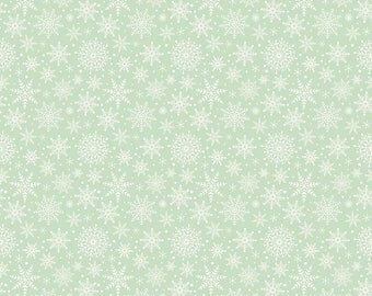 Snowflakes in Light Green Cotton Fabric from the Comfort and Joy Collection by Dani Mogstad for Riley Blake, Christmas Fabric, Winter