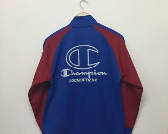 Vintage Champion Track Top Jacket/90s Champion Colorblock Trainer Jacket/Big Logo Spell Out/Streetwear Sportswear/Red Blue White/Size 160