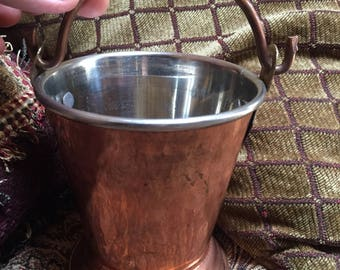 Copper and Steel Serving Bucket