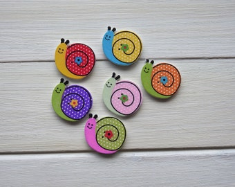 Wooden Buttons Snail - 6 pcs
