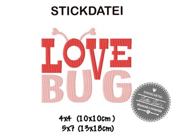Embroidery design embroidery file LOVEBUG word art Valentines Day 4 x 4 5 x 7