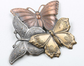 1970s Vintage K&T Butterfly Brooch