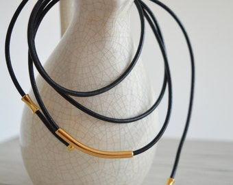 Genuine Black Leather Choker Necklace, Leather Wrap Choker Necklace, Tie Up Bolo Necklace, Bohemian Necklace, Boho Lewelry, Gold Wrap Choker