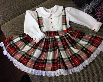 Baby, Girls Handmade Dress Stewart tartan Pinafore Style Petticoat Dress,with bow,Party ,Christmas, Hogmany, 3 monthsTo 5 Years