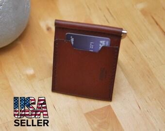 Leather Wallet, Money Clip Wallet. Handmade Money Clip Wallet. Leather Clip Wallet. Money Clip Wallet. Horween wallet. wallet. mens wallet