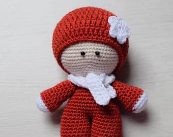 Crochet baby doll. Crochet pupsik. Amigurumi toy. Red baby toy. Little decoration toy.